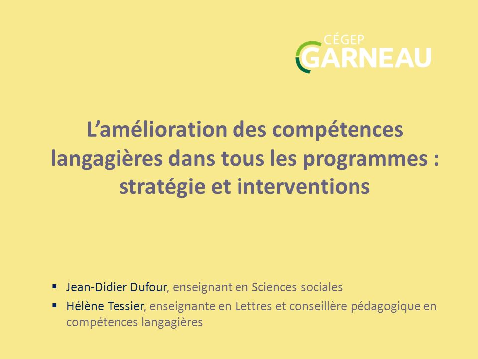 L'amélioration des compétences langagières dans tous les programmes : stratégie et interventions