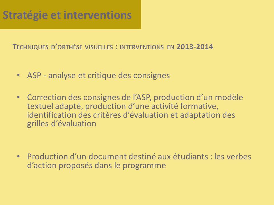 Stratégie et interventions