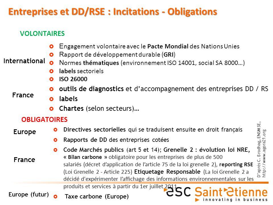 Entreprises et DD/RSE : Incitations - Obligations