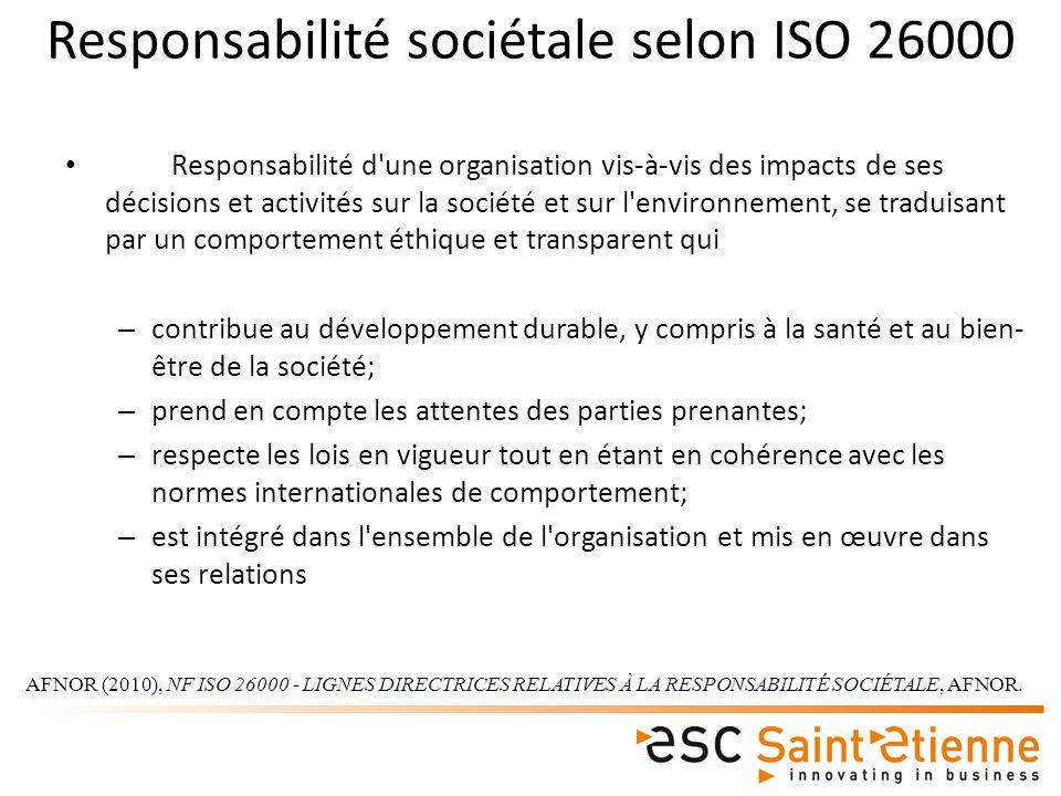Responsabilité sociétale selon ISO 26000