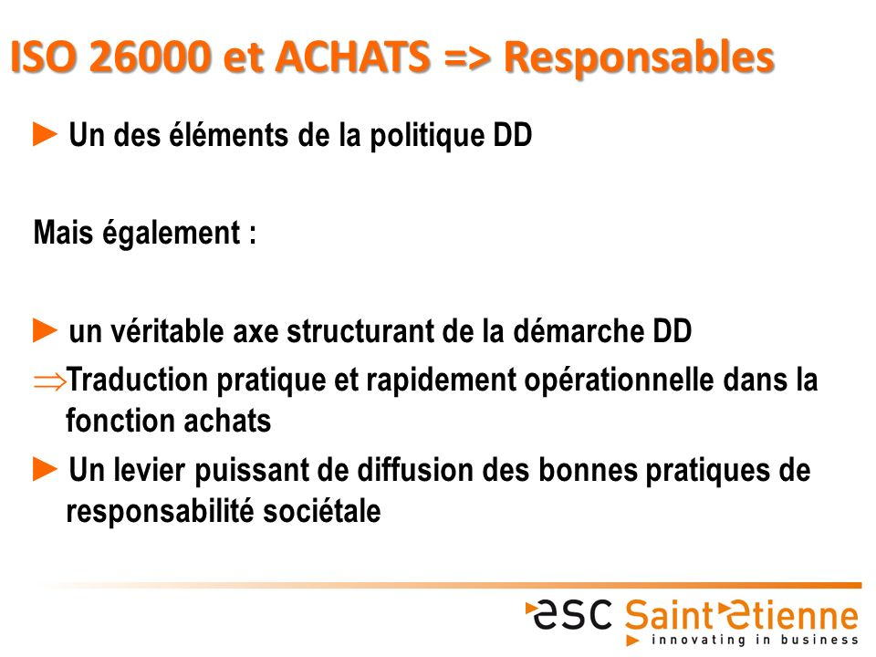 ISO 26000 et ACHATS => Responsables