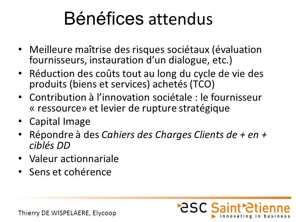 Bénéfices attendus Meilleure maîtrise des risques sociétaux (évaluation fournisseurs, instauration d'un dialogue, etc.)