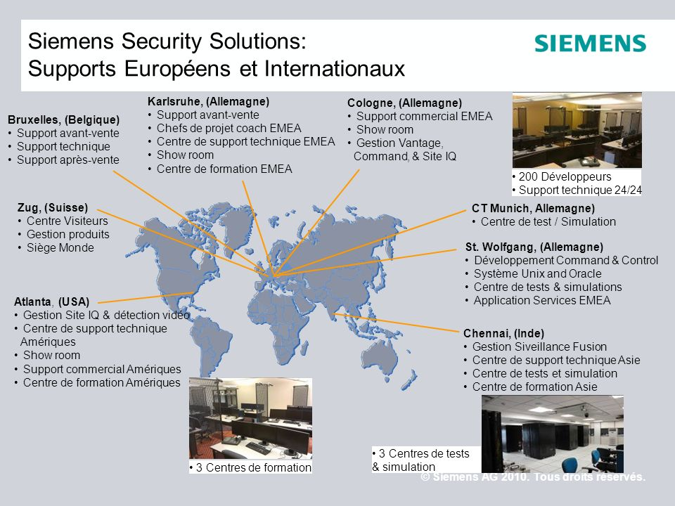 Siemens Security Solutions: Supports Européens et Internationaux