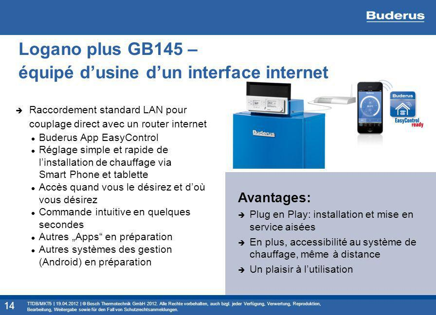 Logano plus GB145 – équipé d'usine d'un interface internet