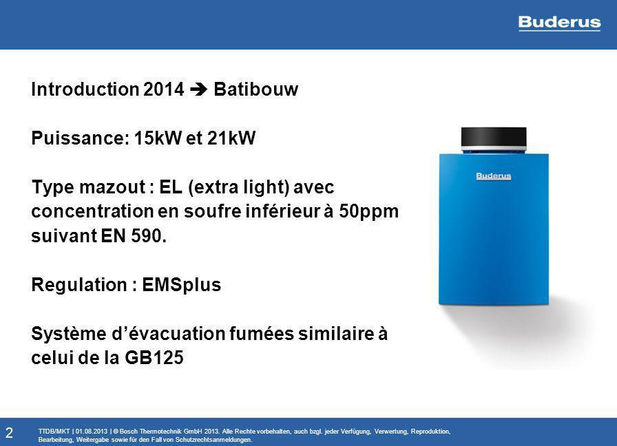 Introduction 2014  Batibouw Puissance: 15kW et 21kW