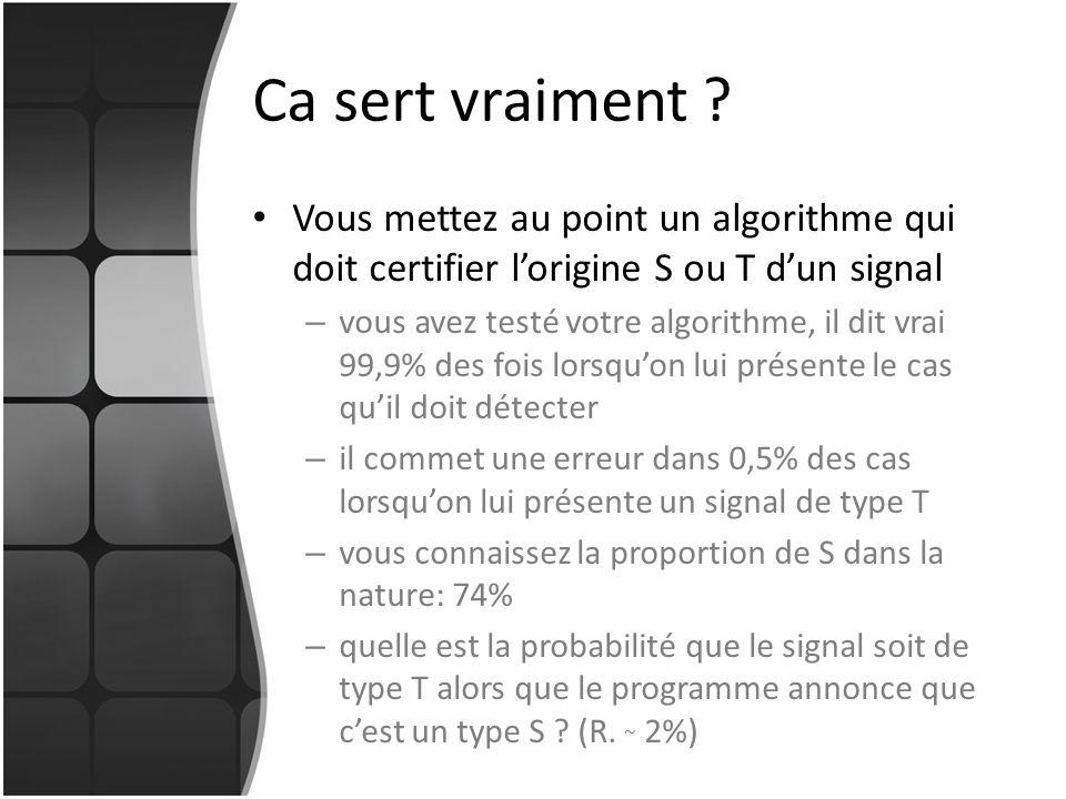 Ca sert vraiment Vous mettez au point un algorithme qui doit certifier l'origine S ou T d'un signal.