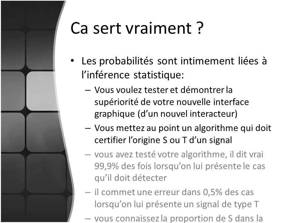 Ca sert vraiment Les probabilités sont intimement liées à l'inférence statistique:
