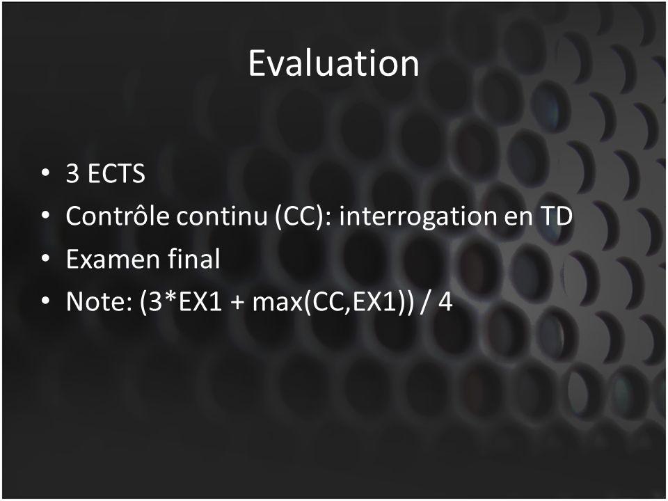 Evaluation 3 ECTS Contrôle continu (CC): interrogation en TD