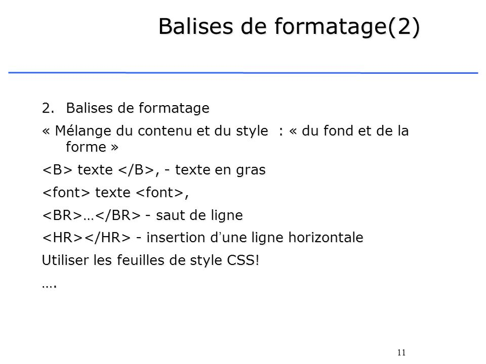 Balises de formatage(2)