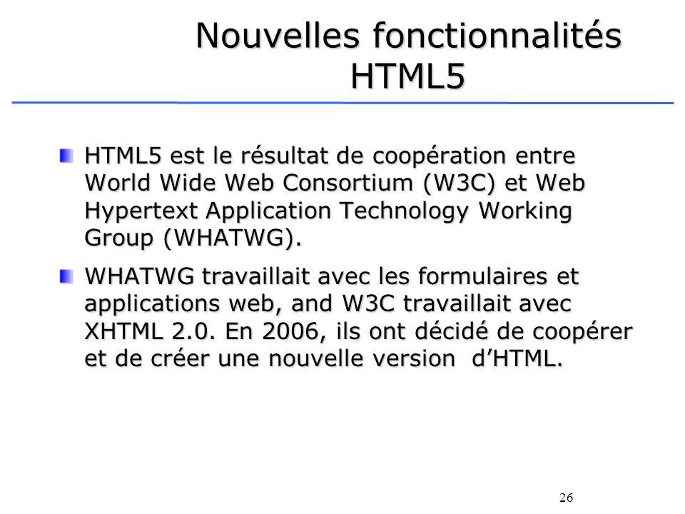 Nouvelles fonctionnalités HTML5