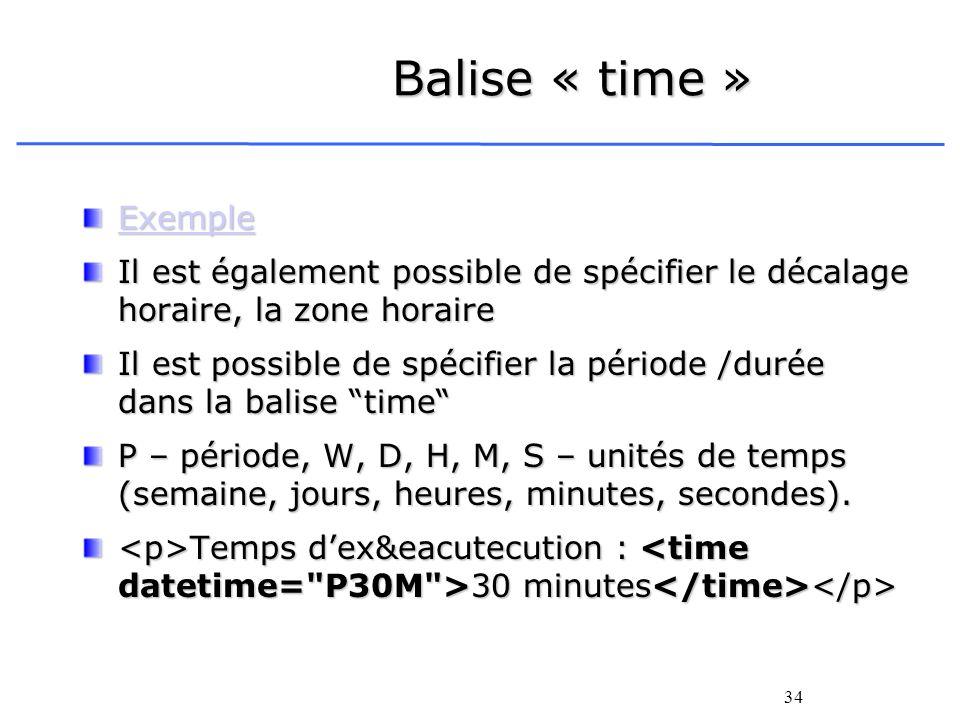 Balise « time » Exemple. Il est également possible de spécifier le décalage horaire, la zone horaire.