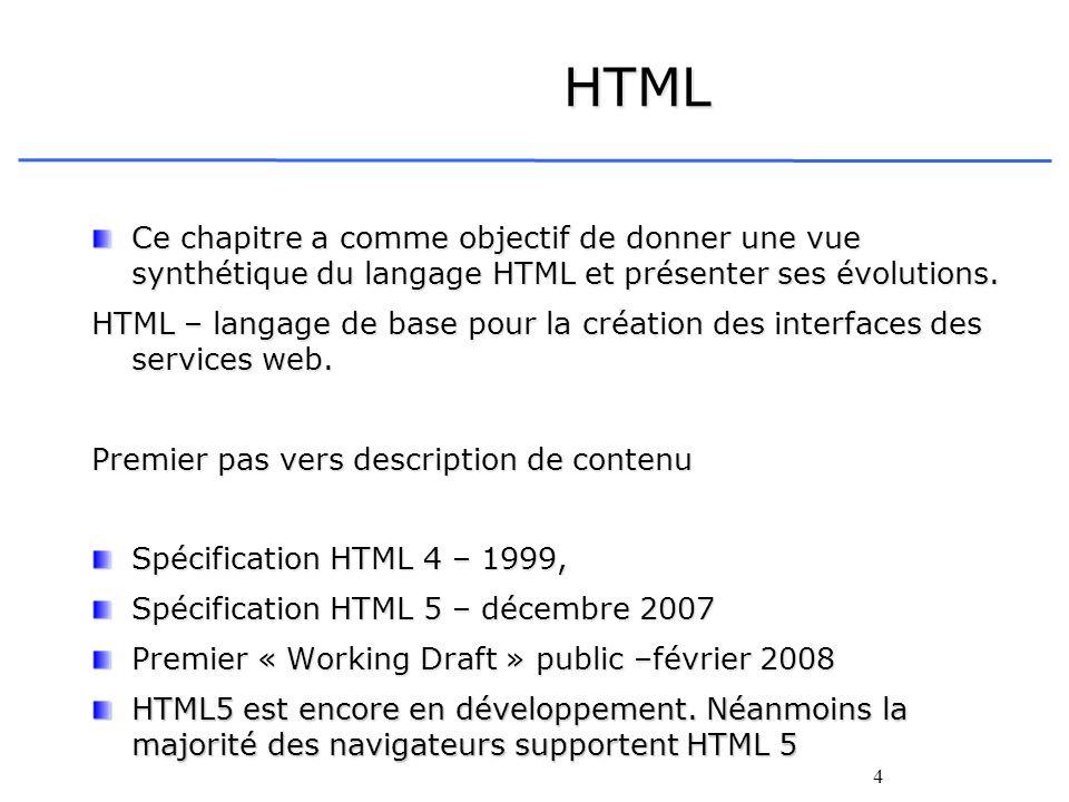 HTML Ce chapitre a comme objectif de donner une vue synthétique du langage HTML et présenter ses évolutions.
