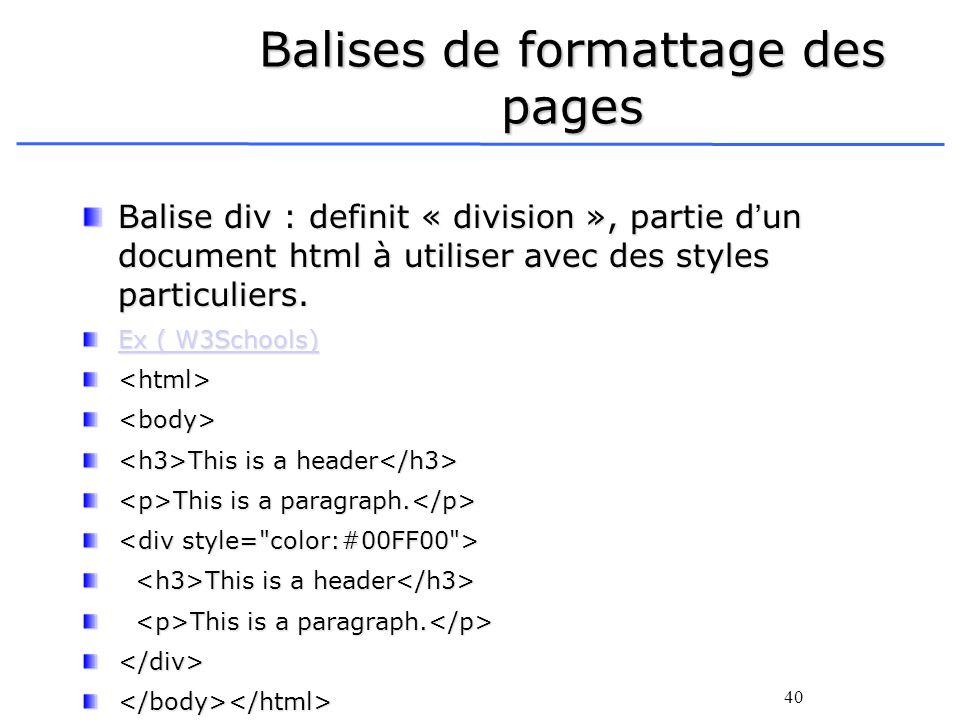 Balises de formattage des pages