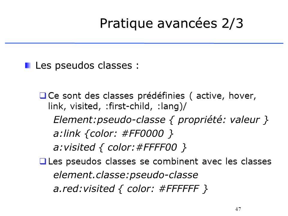 Pratique avancées 2/3 Les pseudos classes :