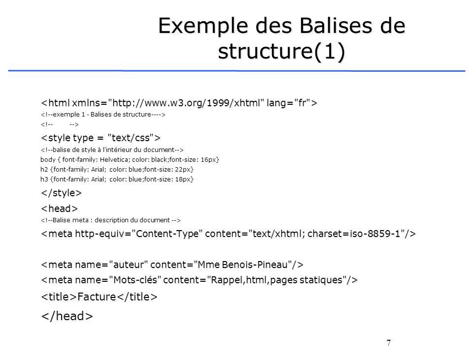 Exemple des Balises de structure(1)