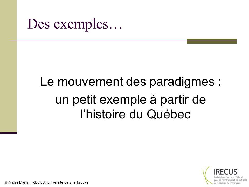 Des exemples… Le mouvement des paradigmes : un petit exemple à partir de l'histoire du Québec