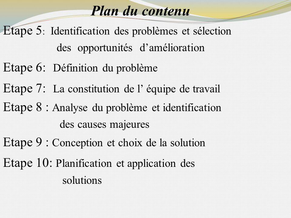 Plan du contenu Etape 5: Identification des problèmes et sélection