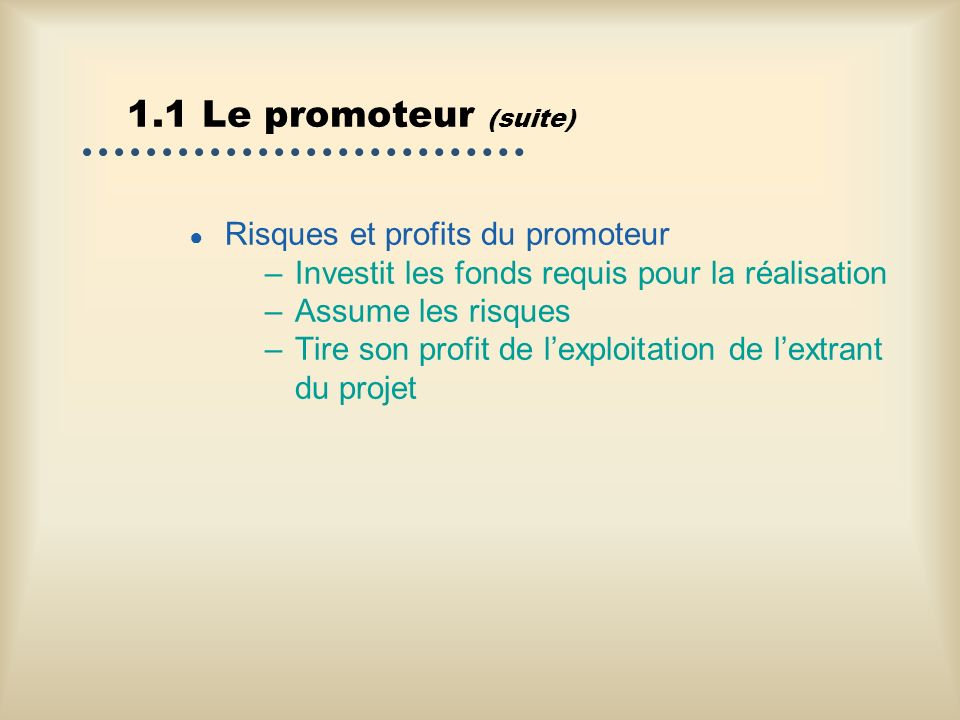 1.1 Le promoteur (suite) Risques et profits du promoteur