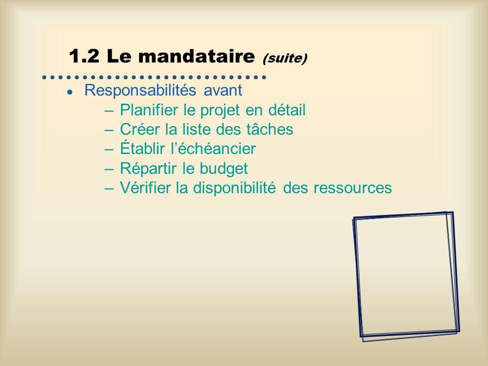 1.2 Le mandataire (suite) Responsabilités avant