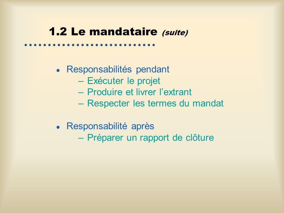 1.2 Le mandataire (suite) Responsabilités pendant Exécuter le projet