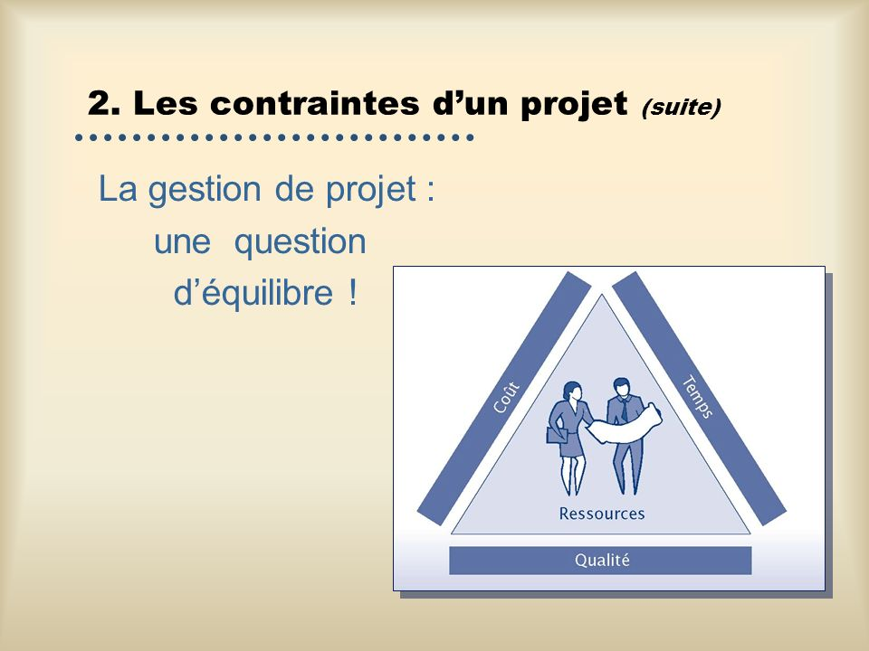 2. Les contraintes d'un projet (suite)