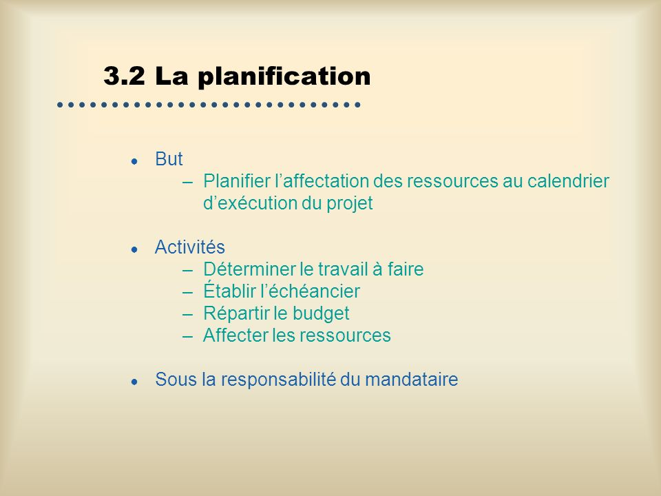 3.2 La planification But. Planifier l'affectation des ressources au calendrier d'exécution du projet.