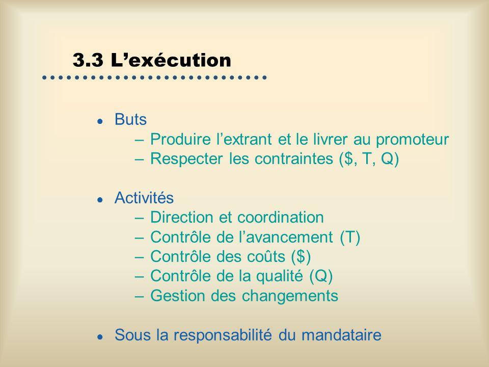 3.3 L'exécution Buts Produire l'extrant et le livrer au promoteur
