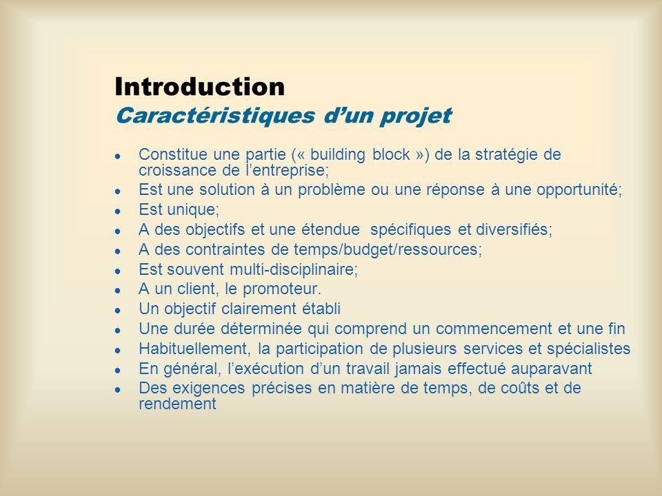 Introduction Caractéristiques d'un projet