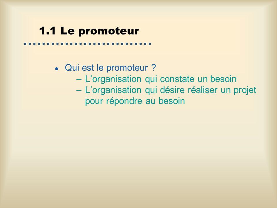 1.1 Le promoteur Qui est le promoteur