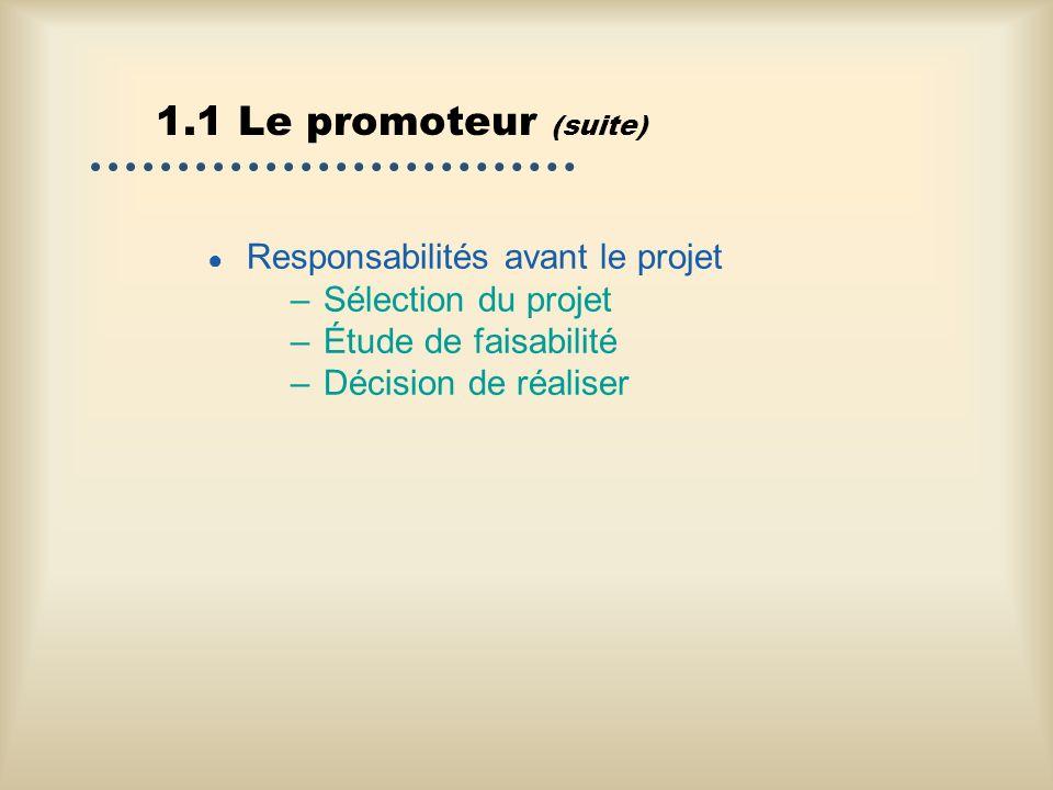 1.1 Le promoteur (suite) Responsabilités avant le projet