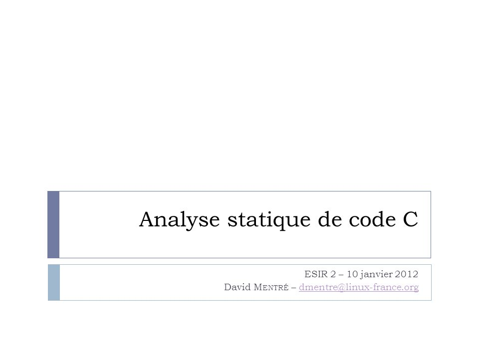Analyse statique de code C