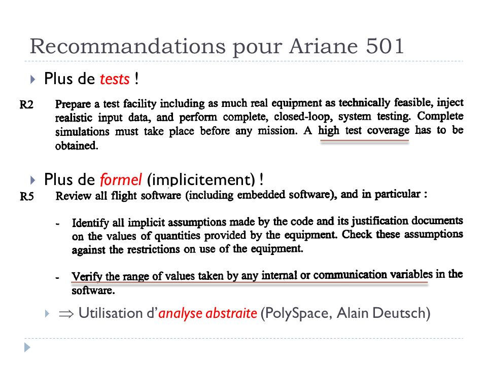 Recommandations pour Ariane 501