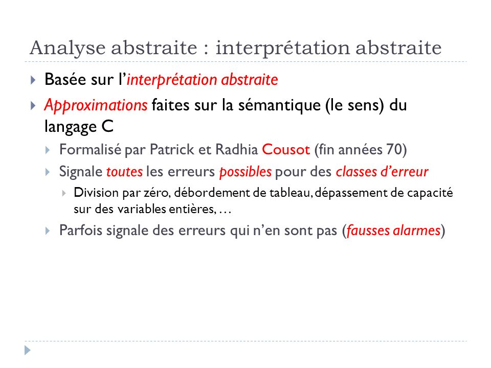 Analyse abstraite : interprétation abstraite