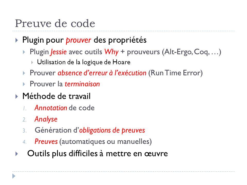 Preuve de code Plugin pour prouver des propriétés Méthode de travail