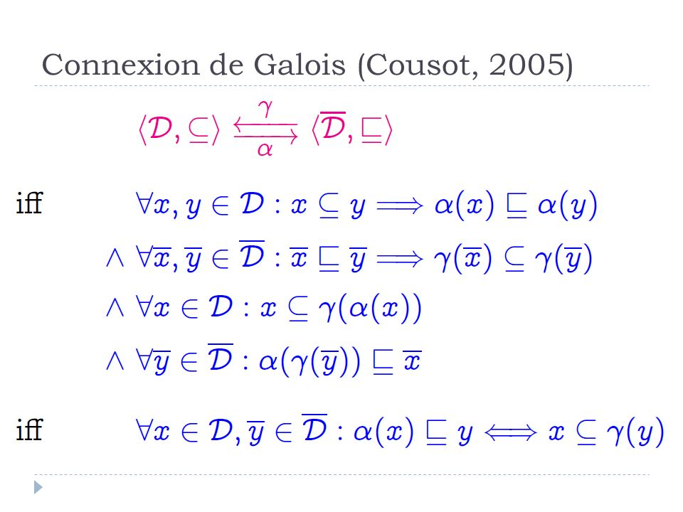 Connexion de Galois (Cousot, 2005)