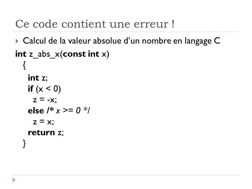 Ce code contient une erreur !