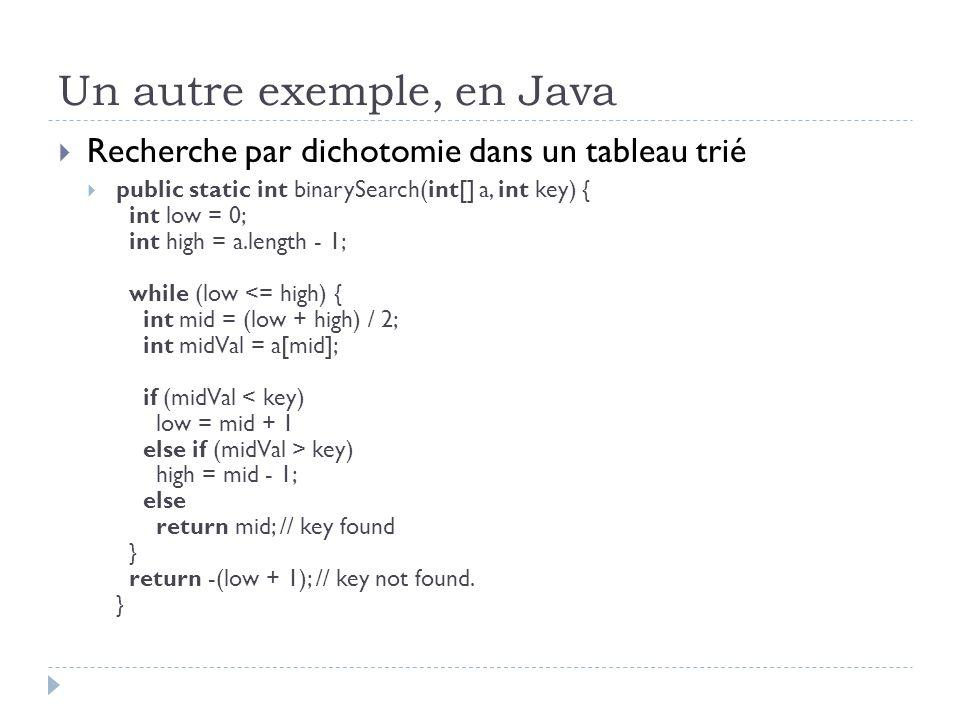 Un autre exemple, en Java