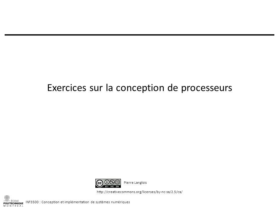 Exercices sur la conception de processeurs