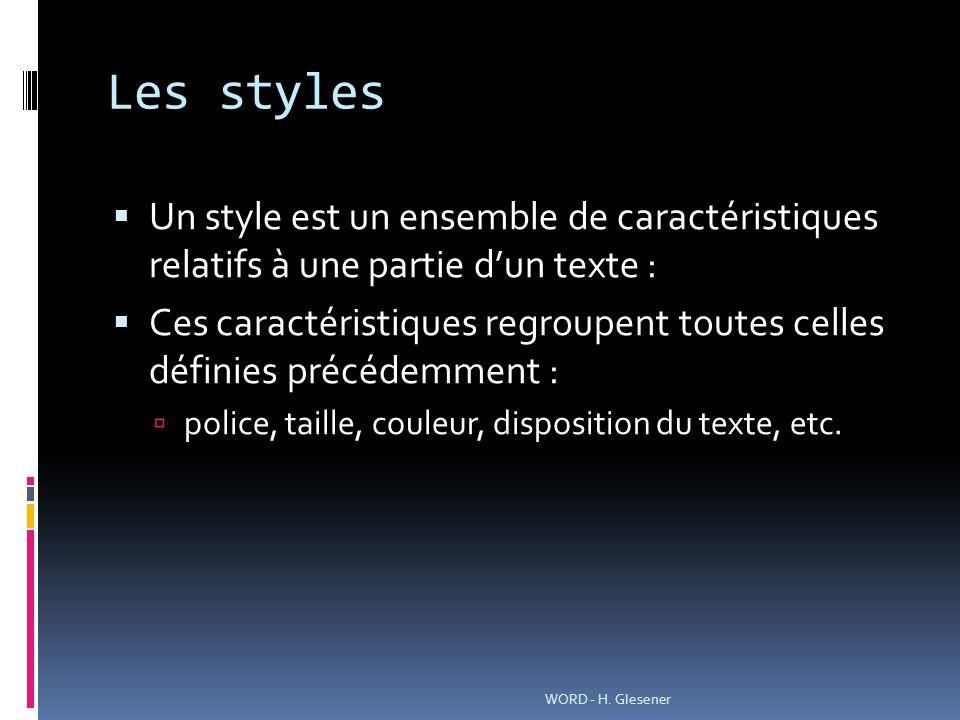 Les styles Un style est un ensemble de caractéristiques relatifs à une partie d'un texte :