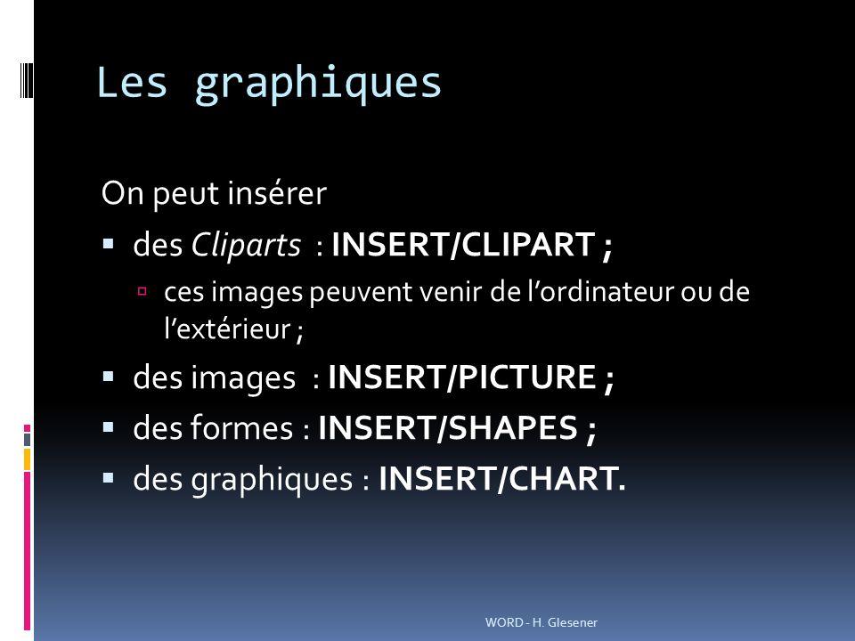 Les graphiques On peut insérer des Cliparts : INSERT/CLIPART ;