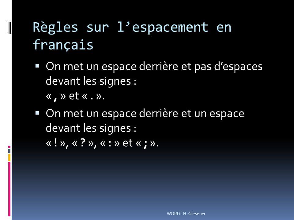 Règles sur l'espacement en français