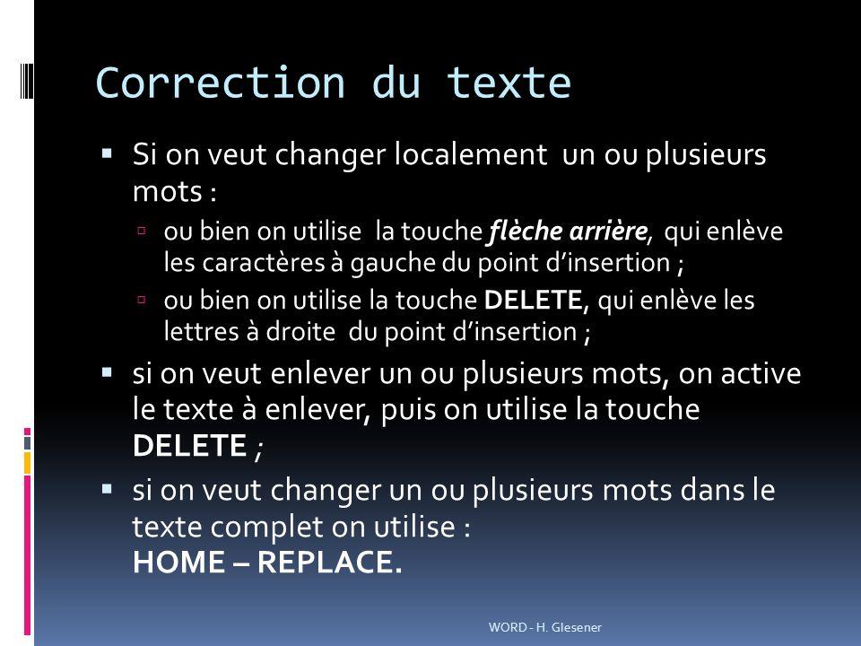 Correction du texte Si on veut changer localement un ou plusieurs mots :