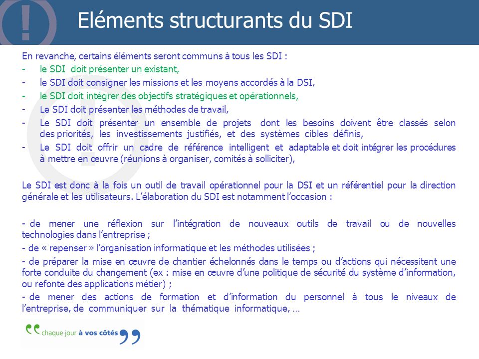 Eléments structurants du SDI