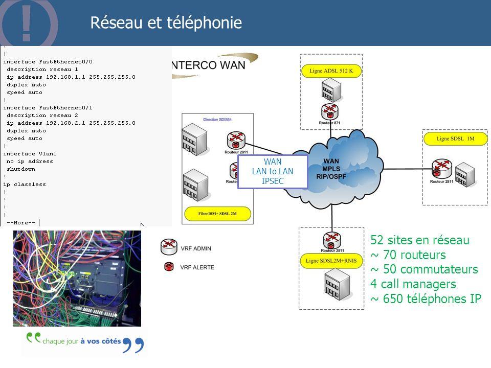 Réseau et téléphonie 52 sites en réseau ~ 70 routeurs