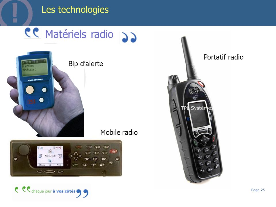 Matériels radio Les technologies Portatif radio Bip d'alerte