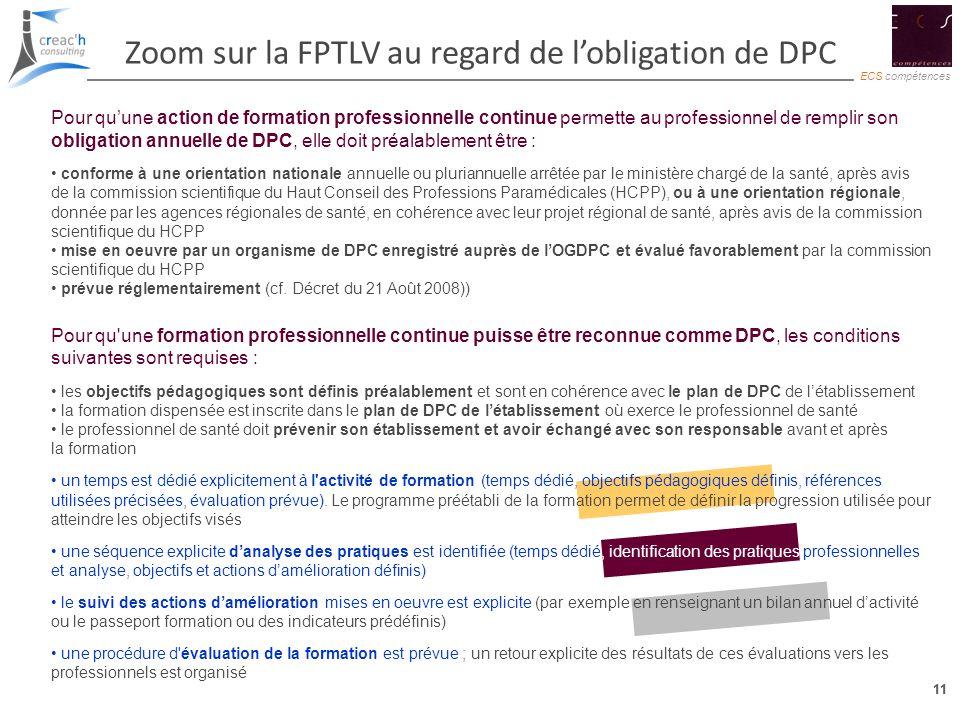 Zoom sur la FPTLV au regard de l'obligation de DPC