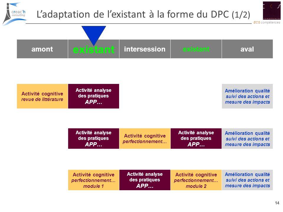 L'adaptation de l'existant à la forme du DPC (1/2) existant