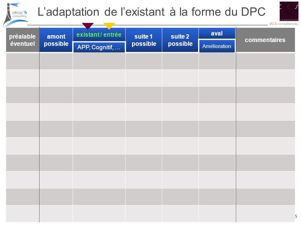 L'adaptation de l'existant à la forme du DPC