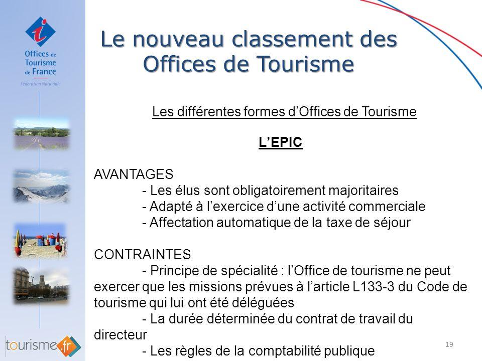 Le nouveau classement des Offices de Tourisme