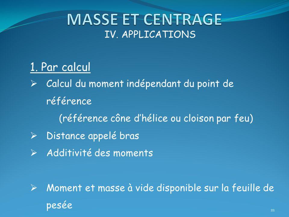 MASSE ET CENTRAGE 1. Par calcul IV. APPLICATIONS